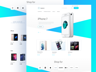 Smartphone Shopify Store graphicdesign shop iphone colorful cyan blue eshop webdesign web shopify ecommerce design