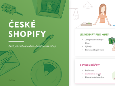 Shopify guide for Czechia byrocrary girl drawing painting payment illustraion woman shopping shop rabbit design branding shopify ecommerce