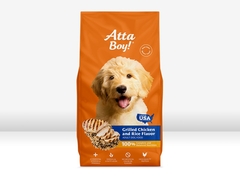 Atta Boy Packaging pet food bag package design chicken and rice canine orange dog pet packaging design atta boy dog food pet food