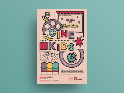 Fall 2019 CINEkids International Children's Film Series poster thicklines adobe illustrator film poster typography illustration vector poster design poster art poster graphic design design