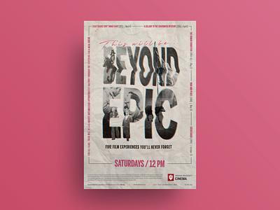 Beyond Epic film series poster and T-shirt collage texture t-shirt mockup t-shirt design t-shirt typography film poster poster design poster poster art graphic design design