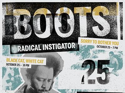 Boots Riley: Radical Instigator film series poster texture grit typography poster poster design poster art graphic design design
