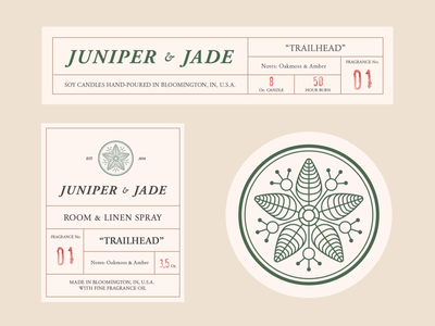 Juniper and Jade Co. photography candles packaging design packaging branding logo graphic design design