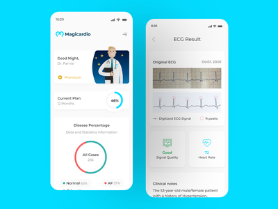 Magicardio App ux ui design physicians ehealth ekg healthcare uxdesign uidesign application magicardio health ecg cardio cardiology