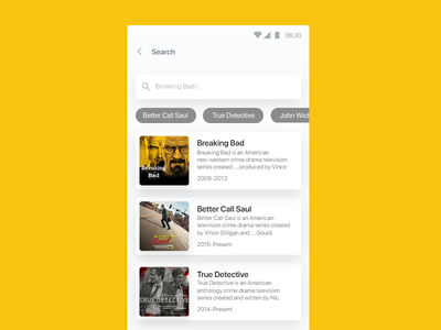 Search yellow android hajilooei dribbble truedetective bettercallsaul breakingbad app apps application minimal dailyui app uidesign ux design search