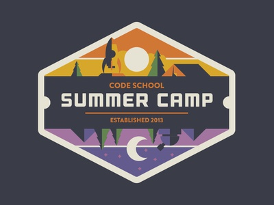 Yo Dawg, I Heard You Like Space (Camp)? summer camp code school tent space rocket moon sun stars mountain badge illustration branding