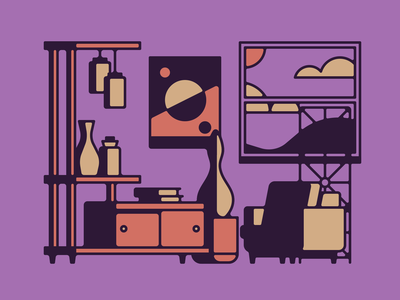 Make Yourself At Home illustration illustrator midcentury room
