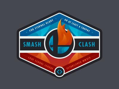 Smash Clash I code school illustration badge smash clash super smash bros