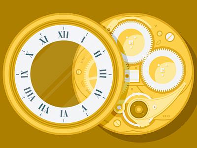 Timepiece Guts timepiece pocket watch clock illustration