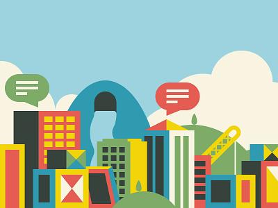 Community boxes illustration skyline city