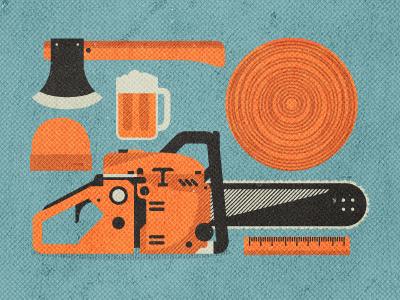 _51 chainsaw handaxe axe wood tree lumberjack lumber manhood beanie ruler beer mug brew tools trade illustration