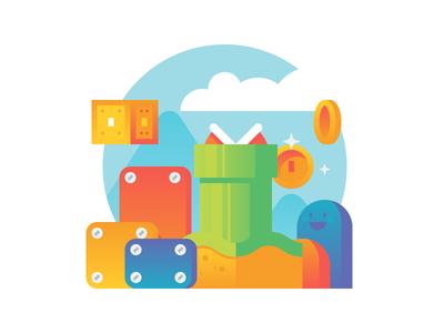 Gamification mario illustration