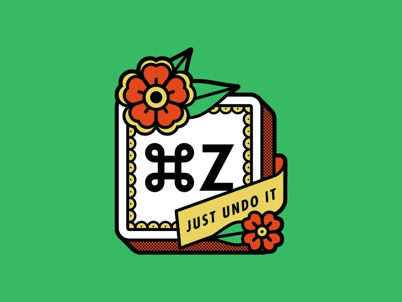⌘Z tattoo flowers illustration undo