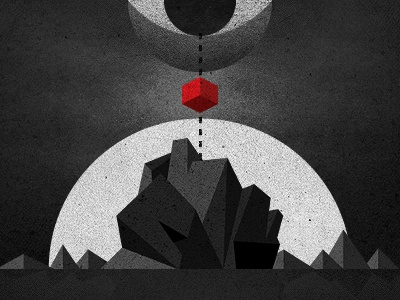 _61 mountains night eye god box mystery moon sun illustration
