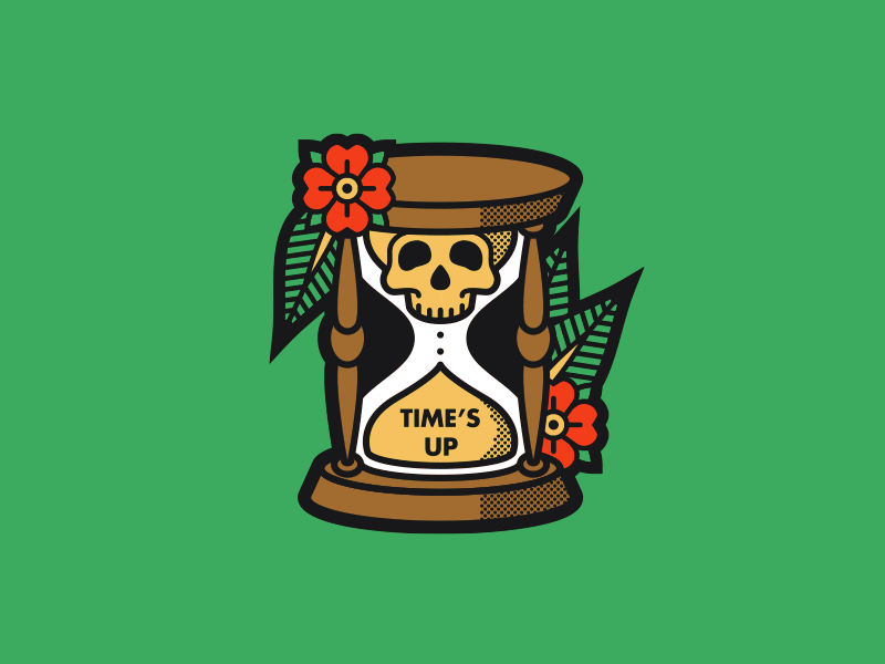 Time's Up death illustration flower skull hourglass