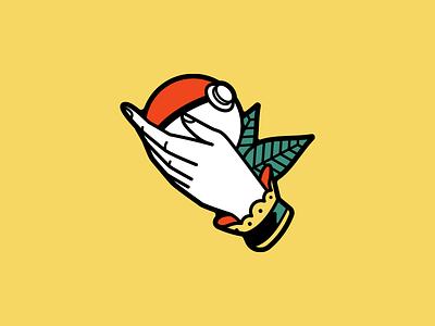 I Choose You american traditional leaf tattoo hand pokeball pokemon