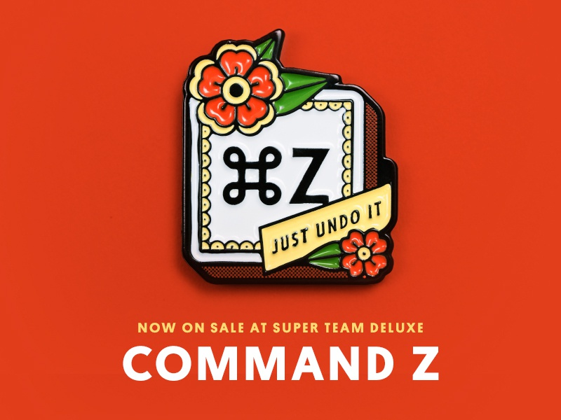 Super Team Deluxe: Command Z justin mezzell illustration super team deluxe goods command z pin enamel lapel pin
