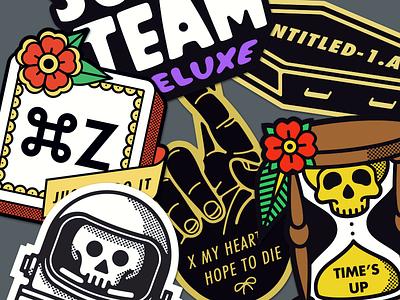 On Sticker Mule Marketplace illustration hourglass skull astronaut command z coffin stickers
