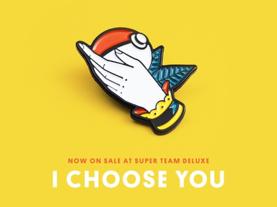 Super Team Deluxe: I Choose You lapel pin nintendo tattoo american traditional illustration hand pokeball pokemon super team deluxe i choose you