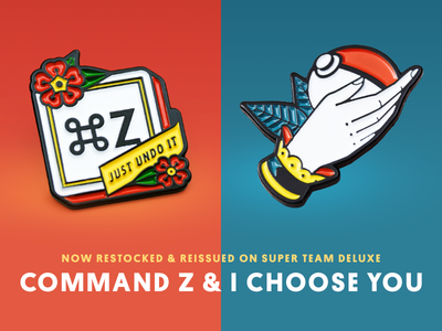 Super Team Deluxe: Command Z + I Choose You lapel pin illustration super team deluxe
