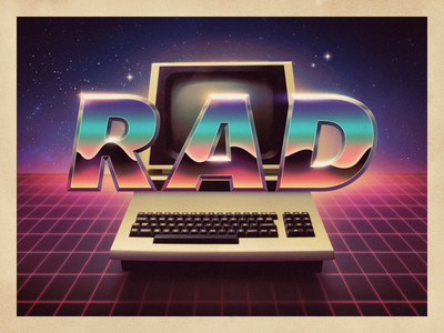 Rad type computer retro retrowave synthwave