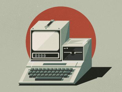 _80 apple ii computer macintosh tech keyboard screen illustration