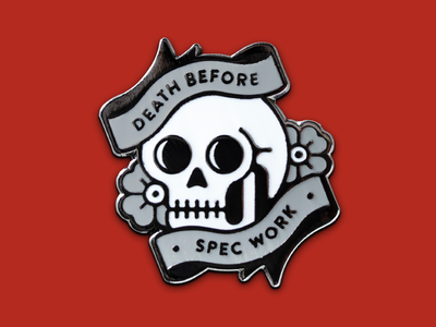 Super Team Deluxe: Death Before Spec Work illustration skull lapel pin enamel pin