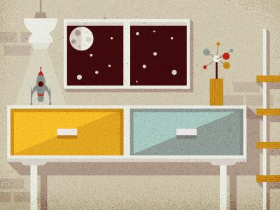 _85 space window mid-century home vintage modern spaceship illustration