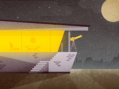 _86 mid century home house telescope vintage modern sofa couch light coffee table lawn grass moon night stars space illustration