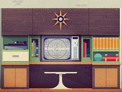 _87 modern retro vintage mid-century chair clock record player vinyl television tv books illustration
