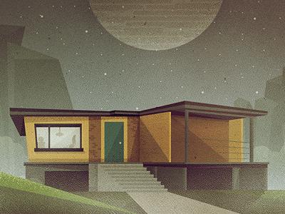 _88 retro mid-century modern house home sky moon stars illustration