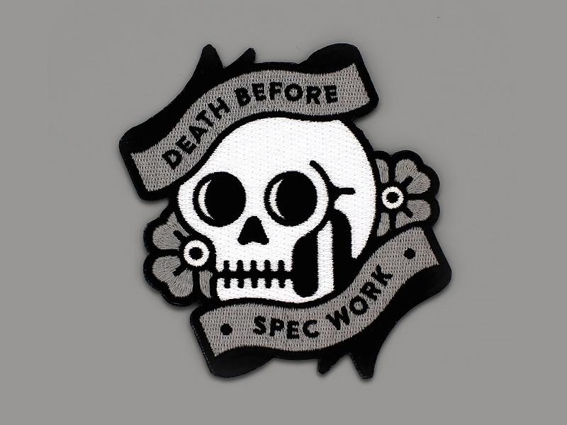 Death Before Spec Work Patches skull death before spec work patch super team deluxe