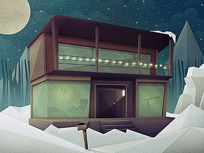 _95 house mid-century chair light telescope snow mountains moon stars clouds lost type co-op mailbox winter illustration
