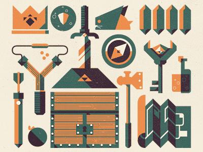 _107 essentials of zelda ocarina of time sword hammer bomb quiver arrow potion map chest rupee bombchu slingshot scale compass key essentialsof