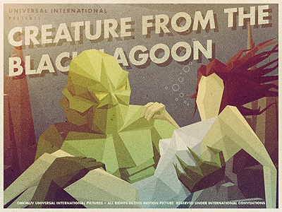_109 creature from the black lagoon vintage posters movie illustration