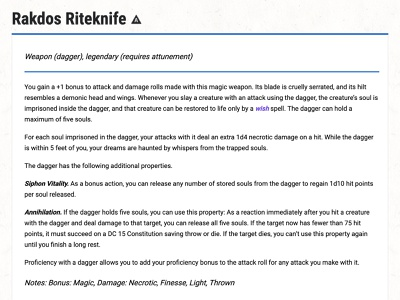 D&D Armory: Rakdos Riteknife dagger weapon illustration dungeons and dragons dndarmory