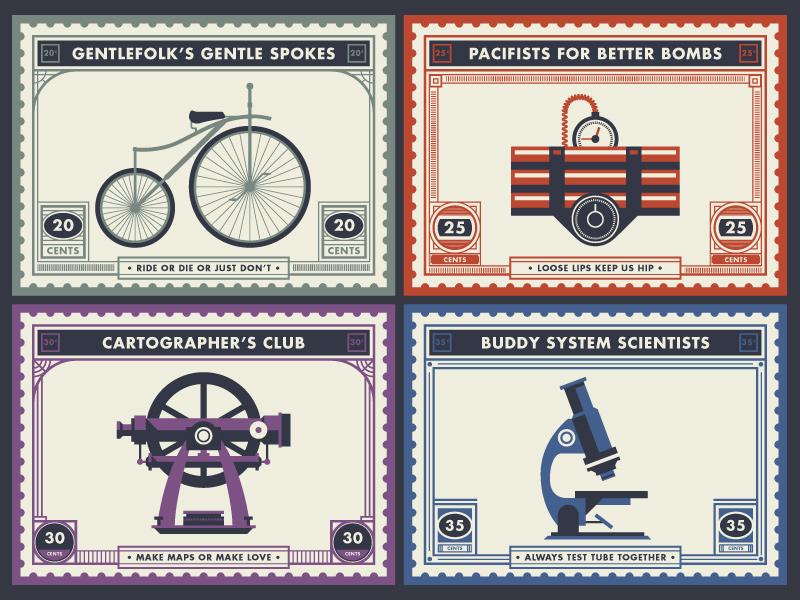 _148 badge stamp microscope bicycle theodolite bomb dynamite science illustration