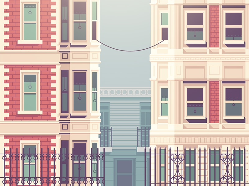 Call Me (Maeby) building home walkup street telephone cord window city illustration