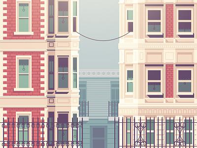 Call Me (Maeby) building home walkup street telephone cord window city illustration