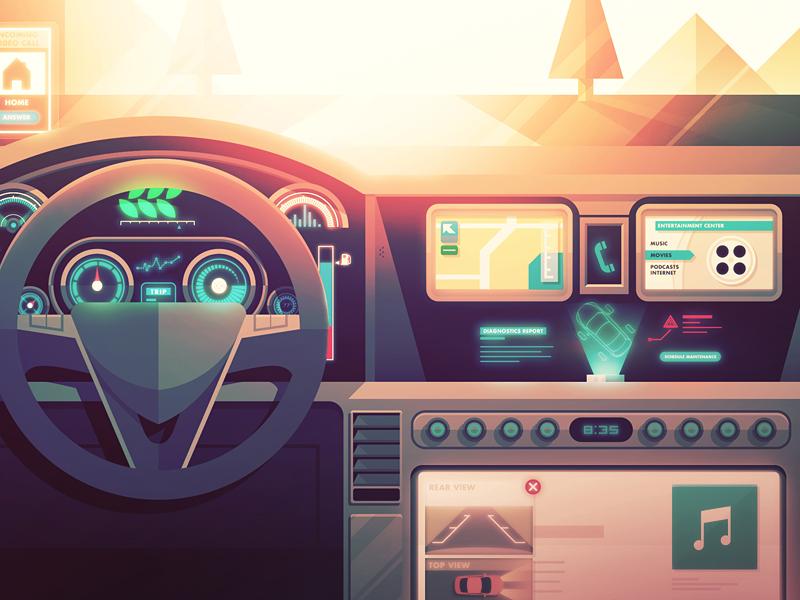 Board de Dash dashboard car future interface vehicle illustration