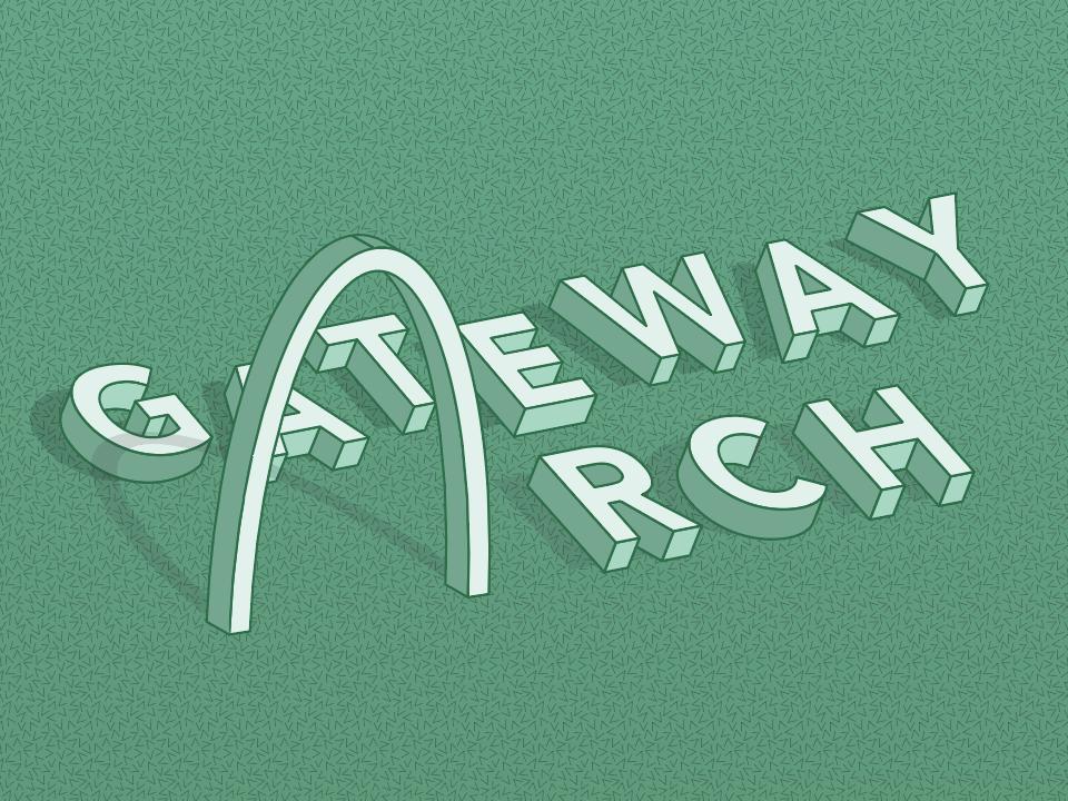 An initial idea for TypeHike Arch 2019 texture stippling isometric design illustrator saint louis monochromatic isometric 3d stipple typography iconography simple icon minimal design vector illustration typehike type