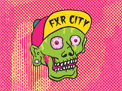 Zombie - FXR CITY illustrator hat cap snapback kush granddy halftone medicated face illustration zombie fxr