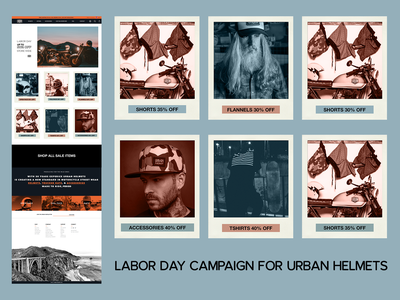 Landing Page for a Holiday Campaign urban helmets landing page sale helmets usa labor day