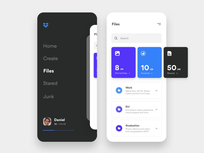 Dropbox minimalism files cloud storage ecommerce product dropbox