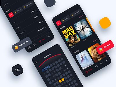 Cinema Application interaction design iconography filter movie booking movie app amazon prime hbo netflix movie theater cinema