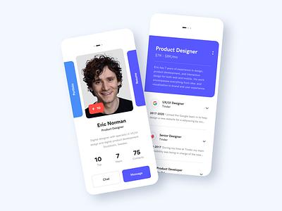 Resume App interaction design application design portfolio profile linkedin resume