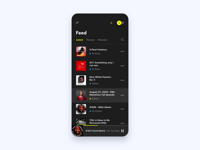 Podcasts podcasting mobile ui audio spotify ux motion design dark theme audio player audio app podcasts interaction design motion graphics after effects animation movement flow