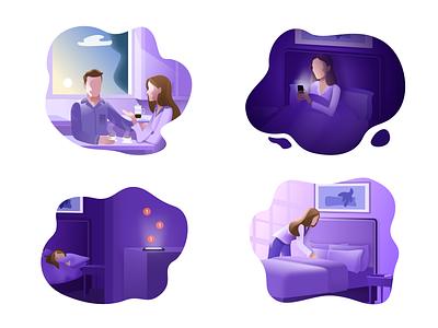 Better Sleep in 14 days art avatars app bed sleep purple web design branding vector woman illustration illustration