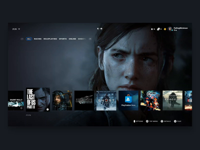 Playstation 5 Interface Concept - Home Screen and Notificaiton notification animation console gaming adobe xd tv ps5 playstation ux ui