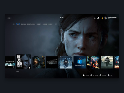 Playstation 5 Interface Concept - Game Screen and Saves card stats ux ui ps5 playstation gaming console animation adobe xd